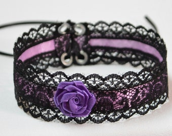 Elegant Textile Choker in Black and Violet, Gothic and Renaissance Lace Satin Necklace with Rose, Baroque