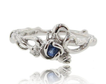 Rose Garden Ring, Silver with Blue Sapphire