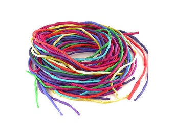 Hand Dyed SIlk Strings / Cords for Pendants, Necklaces, Macrame, Knotting etc. Bright Colours