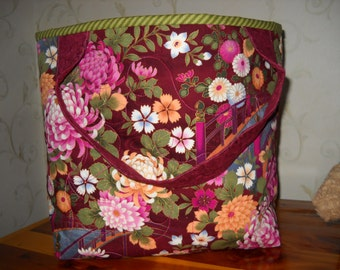 The Best Tote Bag Maroon with Asian Theme Lining