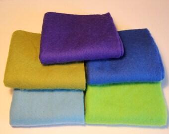 Merino Wool prefelts: 5 colours for Wet Felting or Needle Felting Swiss Hillside