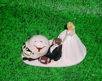 University of Texas Longhorns Football Groom Cake Fun Awesome Wedding Topper- Funny Groom's College Favorite Team Mr Loves MrsSports Fans-1