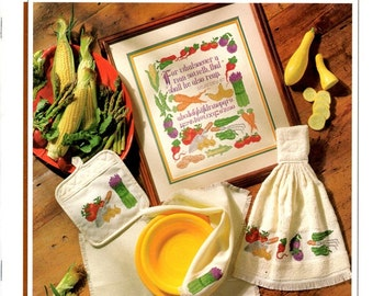 Harvest Sampler Garden Produce Corn Peas Carrots Radishes Asparague Tomatoes Eggplant Trowel Cross Stitch Embroidery Patterns Craft Leaflet