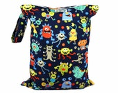 LARGE Wet Bag with Zipper and Waterproof Lining - Monster Mash - FAST SHIPPING