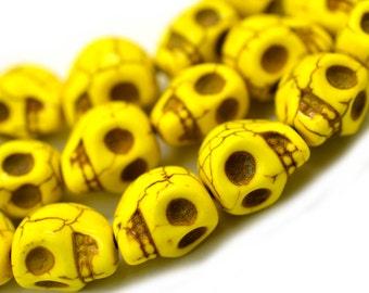 Yellow Skull Beads, 12mm, Howlite  Skull Beads, Sugar Skulls, Yellow Beads, Skull -B215