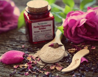 Organic Rose Hibiscus Facial Cleansing Grains scrub polish eco-friendly in a recycled red glass jar