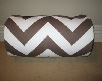 Monogrammed Childrens Pre School THICK COMFY Nap Mat Brown White Chevron  w/ Attached Cuddle Double Sided Minky Blanket and Pillow