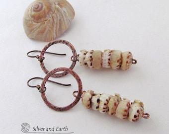 SALE - Sea Shell Earrings, Copper Hoop Earrings, Beach Jewelry, Sale Jewelry, Natural Shell Jewelry, Resort Wear, Handmade Jewelry Sale