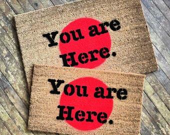 You are here novelty door mat