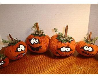 Halloween Suede Pumpkins/Set of 6/Holiday Decor/ Handmade**