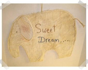 Primitive  Elephant Ornament/ Muslin Fabric/ Handmade**