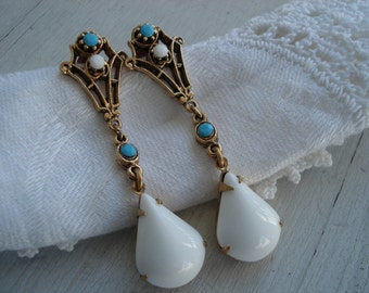 Vintage Victorian Turquoise and White Milk Glass Rhinestone Gold Earrings