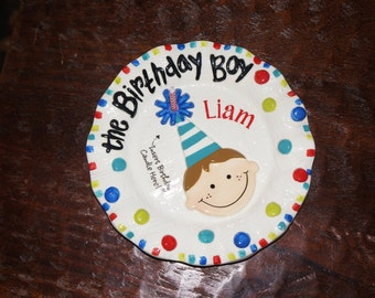 Personalized Baby Boy Birthday Plate Candle Holder