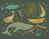 Raggedy Ocean ( 12x18 Fine Art Print ) nautical illustration of whale seahorse octopus sail boat anchor and stars