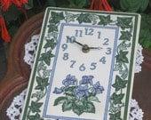 SALE Violets and Ivy Clock, ceramic Tile with quartz movement