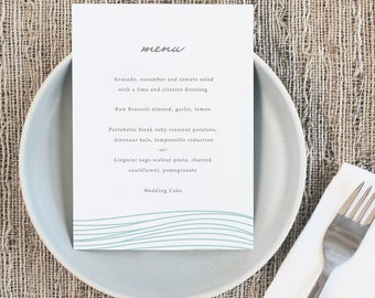 Printable Wedding Menu Template | INSTANT DOWNLOAD | Ocean | 5x7 | Editable Colors | Mac or PC | Word & Pages