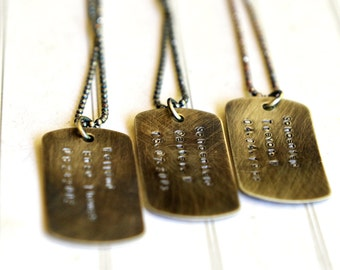 Groomsmen Gift Wedding Party Sporting Team Names Birthdates Dog Tag Necklace Message Jewelry