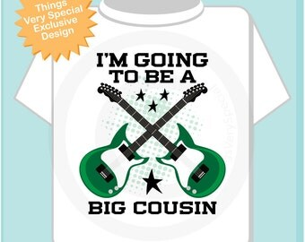 Big Cousin Guitar Rocker Shirt or Onesie, I'm going to be a Big Cousin Shirt, Infant, Toddler or Youth sizes t-shirt (05292014b)