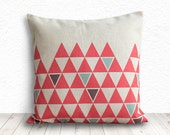 Pillow Cover, Geometric Pillow, Triangle Pillow Cover, Decorative Throw Pillows, Linen Pillow Cover 18x18 - Printed Geometric - 138
