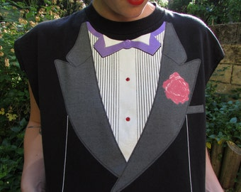 INVITATION ONLY - Sassy 90s Bold Rad Tuxedo Print Red Rhinestone Bow Tie Slouchy Cut Off Raw Edgy Hip Crop Tank Top Medium