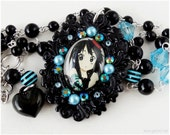 K-ON Mio Necklace, Domed Glass Pendant, Black and Blue Beading - Gothic Lolita, Anime Jewelry