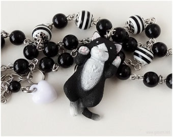 Black and White Cat Necklace, Beaded Chain, Silver Tone - Kawaii Jewelry, Gothic Lolita