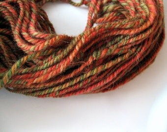 Handspun wool, yarn handspun, worsted weight yarn, hand spun wool, hand spun yarn, gift for knitter, wool knitting yarn, Autumn colors