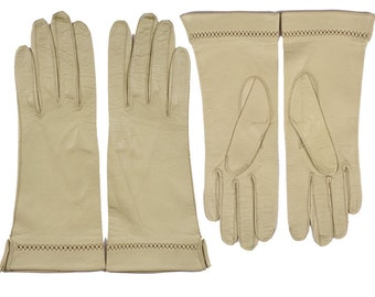 Vintage 1950s Light Green Kid Leather Gloves