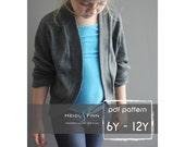 Slouchy Cardigan pattern and tutorial PDF 6y - 12y easy sew sweater bolero