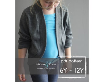 Slouchy Cardigan pattern and tutorial PDF 6y - 12y easy sew sweater bolero