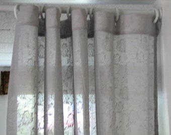 Soft Grey Lace Jacquard Knit  Shower Stall Curtain SPECIAL