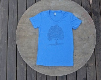 Tree T-Shirt List of tree Species / Nature Design / American Apparel Women's Tee in Heather Lake Blue