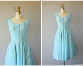 50s dress | 1950s party dress | cocktail dress  | 1950s dress | 60s party dress | sky blue 1960s dress (small)