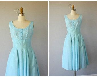50s dress | 1950s party dress | cocktail dress  | 1950s dress | 60s party dress | sky blue 1960s dress (small)