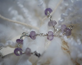 Amethyst rondelle bridal jewelry bracelet. Delicate Amethyst, handmade, wire wrapped, February birthstone, Sterling silver, toggle clasp.