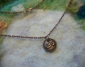 Om Necklace, Peaceful Aum, Zen, Meditation, Hindu, Buddhist, Prayer,Two Sided Copper Charm