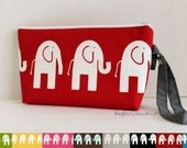 Zippered Diaper Clutch - Custom Design Your Own In Your Choice Of Marching Elephants