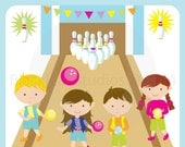Bowling Alley Birthday Party Kids Girls Boys Clip Art - Personal and Commercial Use Instant Download