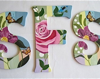 Shabby Chic hand painted Monogram Letters - Reserved