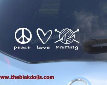 Peace Love Knitting - Vinyl Sticker Car Decal