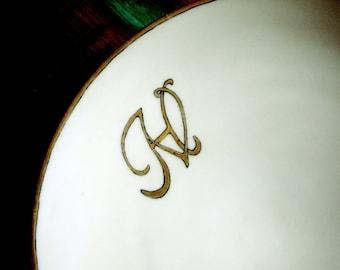 Antique Hand-Lettered Monogram V H or H V Pearly Glazed O. & E. G. Royal Bavaria China Plate