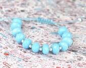 SALE- Blue Agate and sterling silver  bracelet