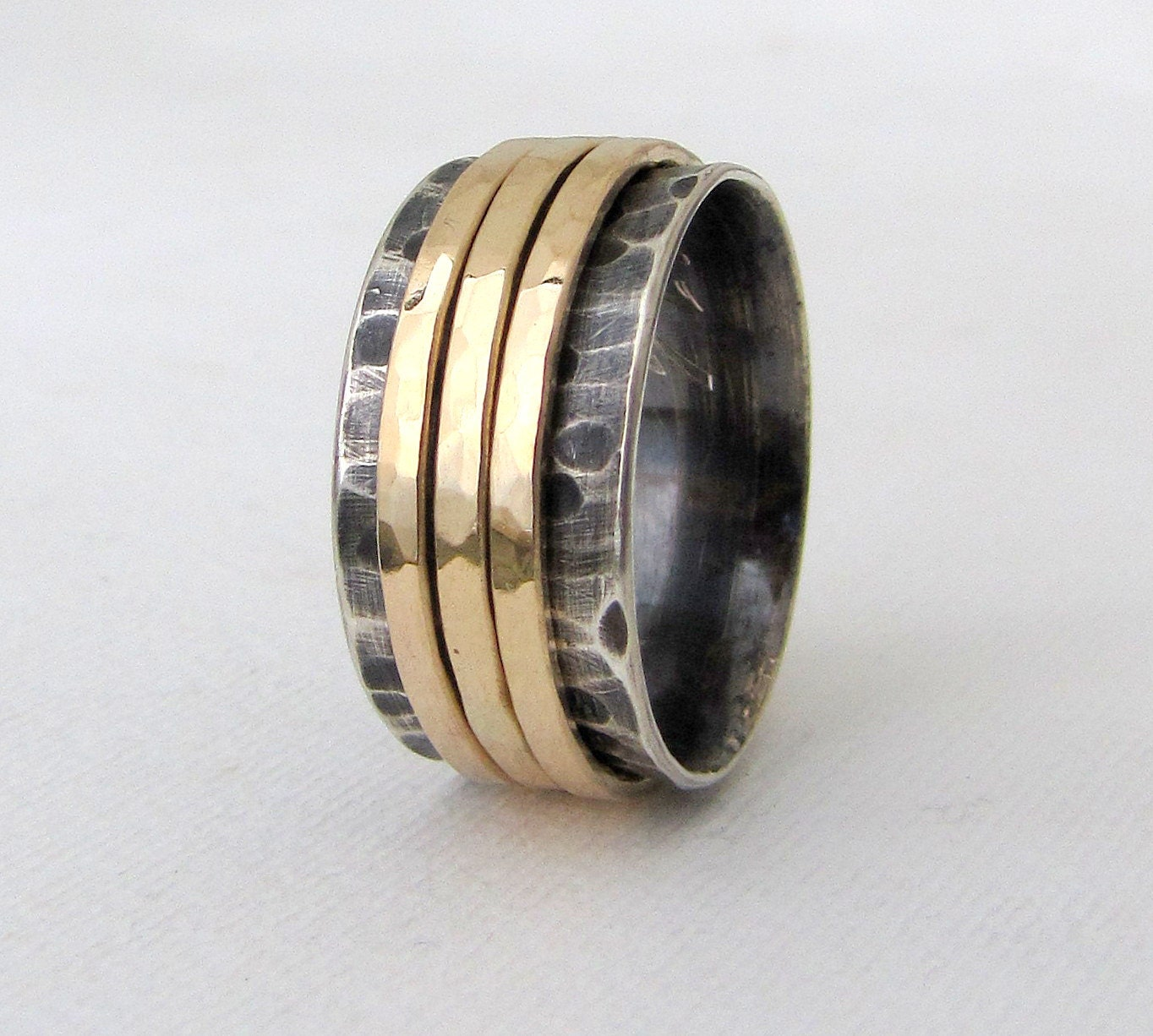 mens wedding band gold spinner ring wedding ring 14k gold