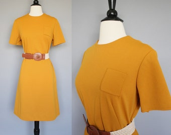 60s Dress / vintage 1960s Mustard Mod Shift Dress / Large