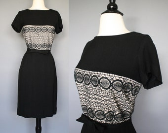 SALE 60s Dress / vintage 1960s Black Rayon Crocheted Lace Rayon Wiggle Dress / S