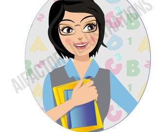 Woman Clip Art teachers , librarian student avatar , girl holding books , character illustration for blog avatar , shop banner facebook