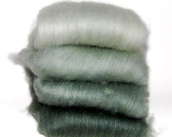 BFL/Silk Herb Green Ombre Batts - 4 ounces