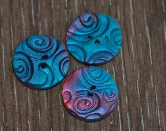 5/8 inch & larger Pink Purple and Blue Swirl Buttons - Set of 3