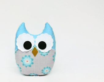 Aqua Gray Owl Stuffed Toy Plush Nursery Decor Aquamarine Blue Teal Ready to Ship