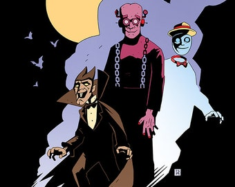 Monster Cereals Print - Mike Mignola Style